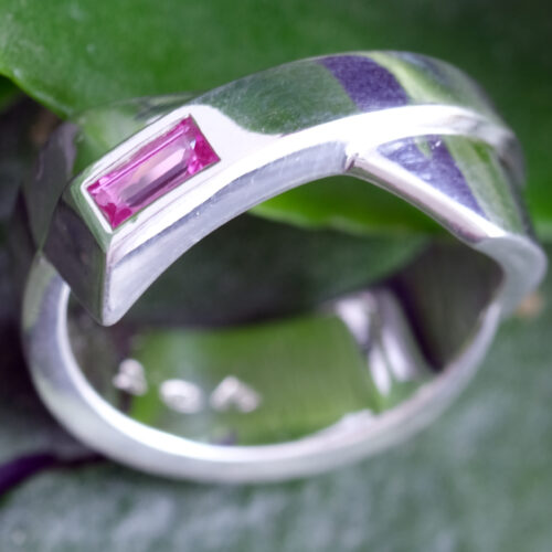 Pink Sapphire Baguette Sterling Silver Ring