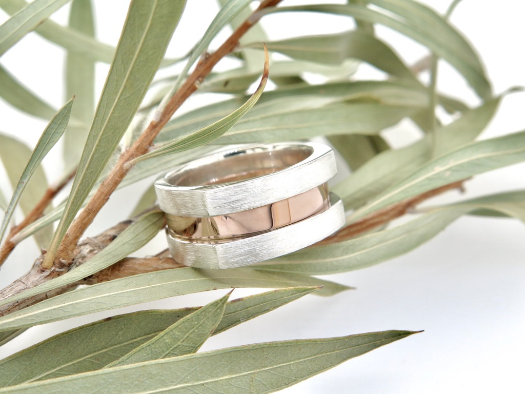 Sterling Silver and Rose Gold Dress Ring