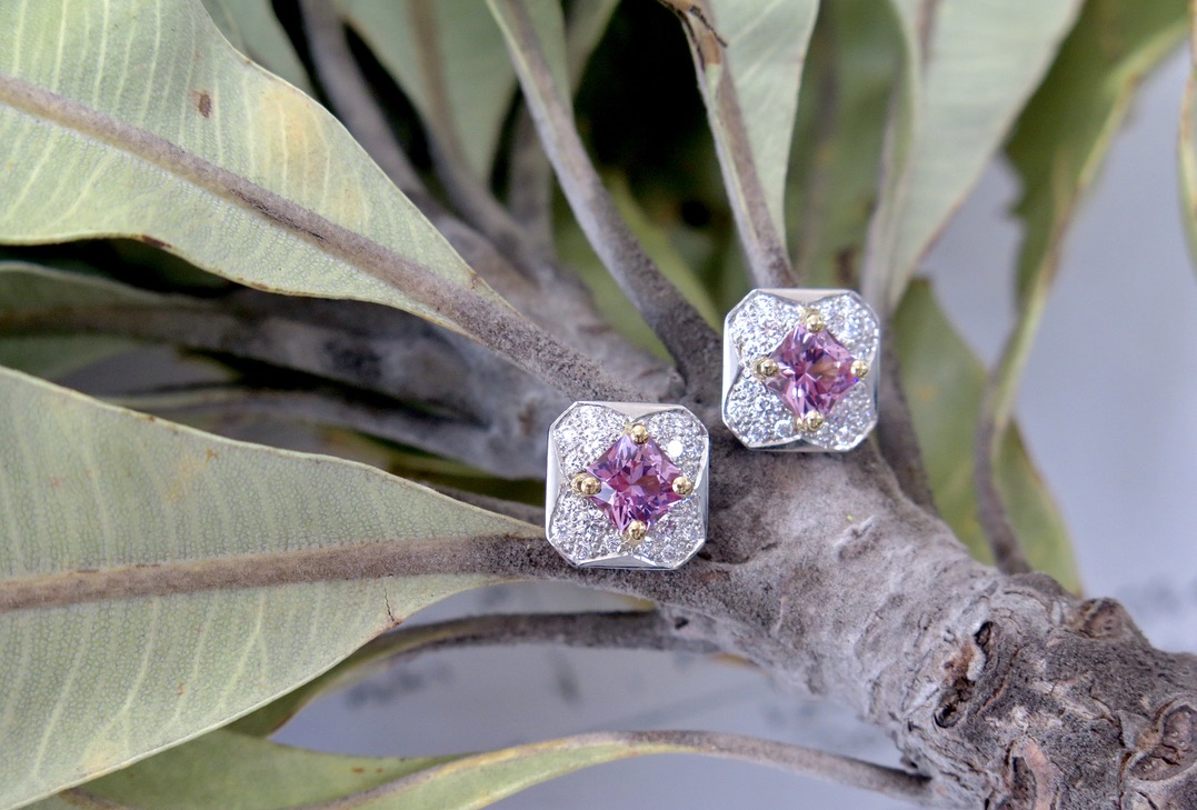 Platinum and Gold Pink Spinel Earrings